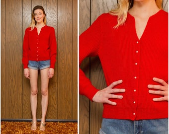 Vintage 80s 90s Bright Red Soft Chunky Girlie Pearl Button Up Down Holiday Christmas Retro Cardigan Oversized Slouch Sweater Jumper S M L