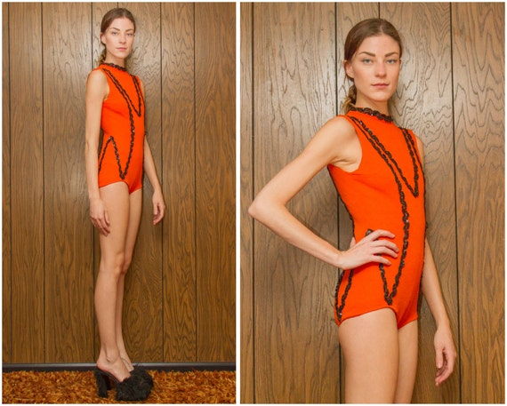 Twirling Halloween Ice Asymmetrical 60s Color Leotard Zig Bodysuit XS Vintage S Tiger Sequin guard Unitard Black Skating Orange Zag 8Pw45zq
