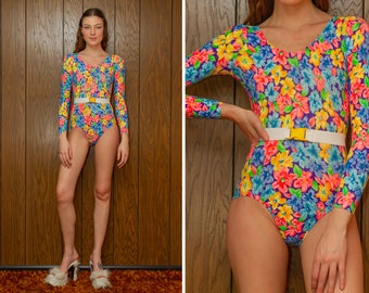 Vintage 90s Neon Rainbow Elite Sportswear GK Cotton Lycra Belted Floral Flower Print Long Sleeve Scoop Aerobic Dance Leotard Bodysuit XS S
