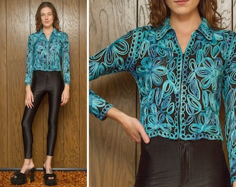 Vintage 90s Sheer Mesh Black Teal Blue Ribbon Embroidered Flower Floral Textured Cover Zip Up Collared Cardigan Sweater Jacket Blouse Top S