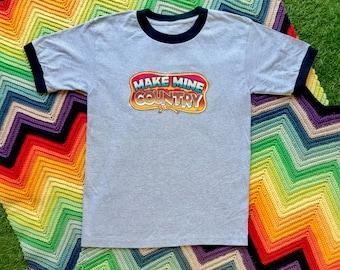 Vintage 90s Unisex Gray Black Glitter Make Mine Country Ringer Crewneck Heat Transfer Graphic Novelty Rodeo Cotton Short Sleeve T-Shirt S M
