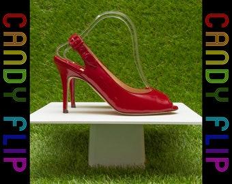 Vintage 90s y2K 00s Manolo Blahnik Red Shiny Patent Leather Open Toe Buckle Sling Back Stiletto Sandal High Heel Women's Shoe EU 40 / 9 9.5