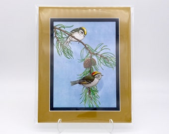 Vintage Sparrow Bird Bonded Pair Foil Etching Art Print Shiny Antique Gold Metallic Black Double Mat Ready to Frame in 8x10 Image 7.5 x 5.5