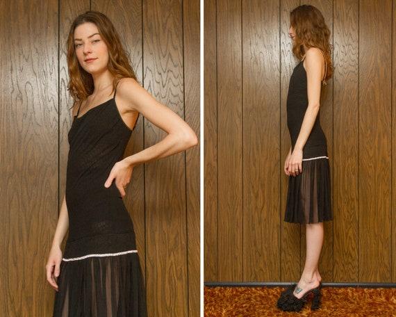 Sheer Length Sleeveless Italy Slip 00s Spaghetti Mesh Sexy Rhinestone Knee Lingerie L S Drop Strap Vintage 90s Dress M Cosabella Waist Black qYTgA