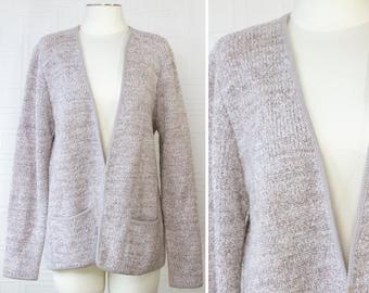 Vintage 90s Adele Joyce Beige Taupe Oatmeal Textured Double Pocket Long Sleeve Split Front Sweater Granny Wool Acrylic Cardigan Jacket M L