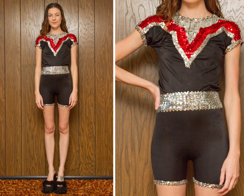 af8430f7e Vintage 80s 90s Black Silver Red Metallic Sequin Sequined Belted ...