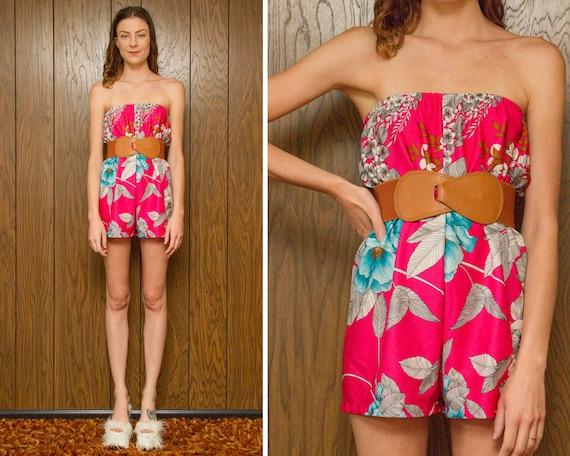 Vintage 80/'s  Blair  Pink Terrycloth Ruffled Off The Shoulder Shorts Romper Jumper L