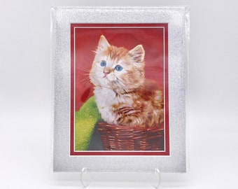 Vintage Red Green Orange Kitten Cat Foil Etching Art Print Shiny Metallic Glitter Silver Double Mat Ready to Frame in 8x10 Image 7.5 x 5.5