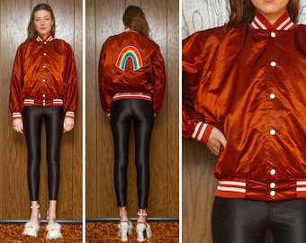 Vintage 80s Cognac Amber Brown Shiny White Striped Rainbow Care Bears Embroidered Back Patch Quilted Lined Snap Button Windbreaker Jacket M