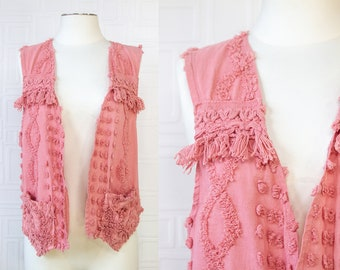 Vintage 90s Grandma Chenille Mauve Pink Textured Tassle Lightweight One of A Kind Cotton Hand Dyed USA Front Pocket Sleeveless V Neck Vest L