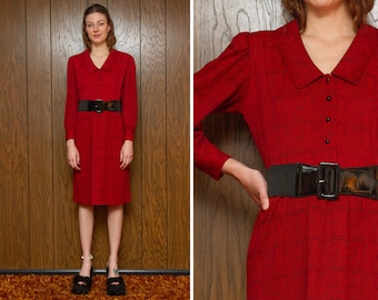 Vintage 80s Sears Shirtdress Red Black Collared Checker Striped Long Puff Sleeve Below The Knee Length Belted Button A-Line Career Dress L