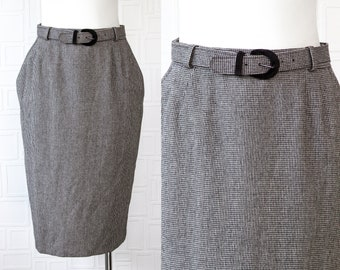 Vintage 80s 90s ILGWU Textured Black White Plaid Herringbone Checkered Belted Velvet Buckle Knee Length Lined Pocket Pencil Skirt Size 12 L