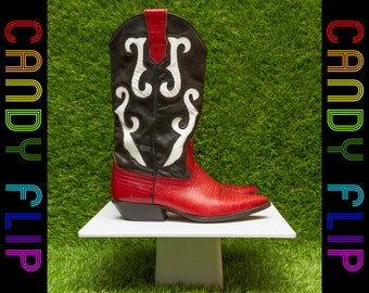 Vintage 90s Nine West Women's Black Red White Color Block Leather Mid Calf Cowgirl Valentine's Day Rodeo Western Wood Heel Dance Boots 6 M