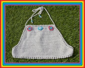 Vintage Deadstock 90s White Teal Sky Blue Mauve Pink Festival Crochet Sheer Mesh Beaded 3-D Flower Cotton Crop Halter Top One Size S M L