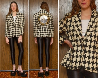 Vintage 90s DKNY Chicago Windy City Skyline Sequined Back Patch White Black Gold Houndstooth Plaid Textured Thick Blazer Driving Coat Jacket