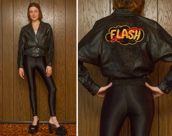 Vintage 80s Flash Lightning Paisley Filigre Suede Sleeve Gold Metallic Embroidered Back Patch Leather Black Button Cropped Dolman Jacket S M