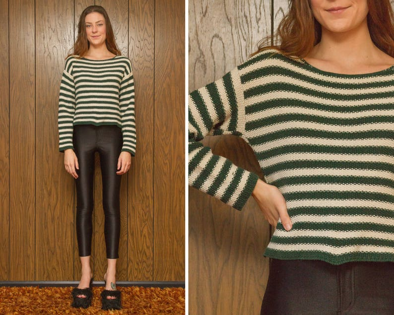 b4ca5b6f2ba23a Vintage 90s Dark Forest Green Crop Cable Knit Sweater Boatneck