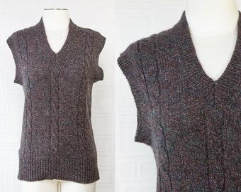 Vintage 90s Boston Traders Brand Mens Rainbow Dappled Flecked Gray Purple Teal Braided Textured Sleeveless V-Neck Sweater Vest L XL