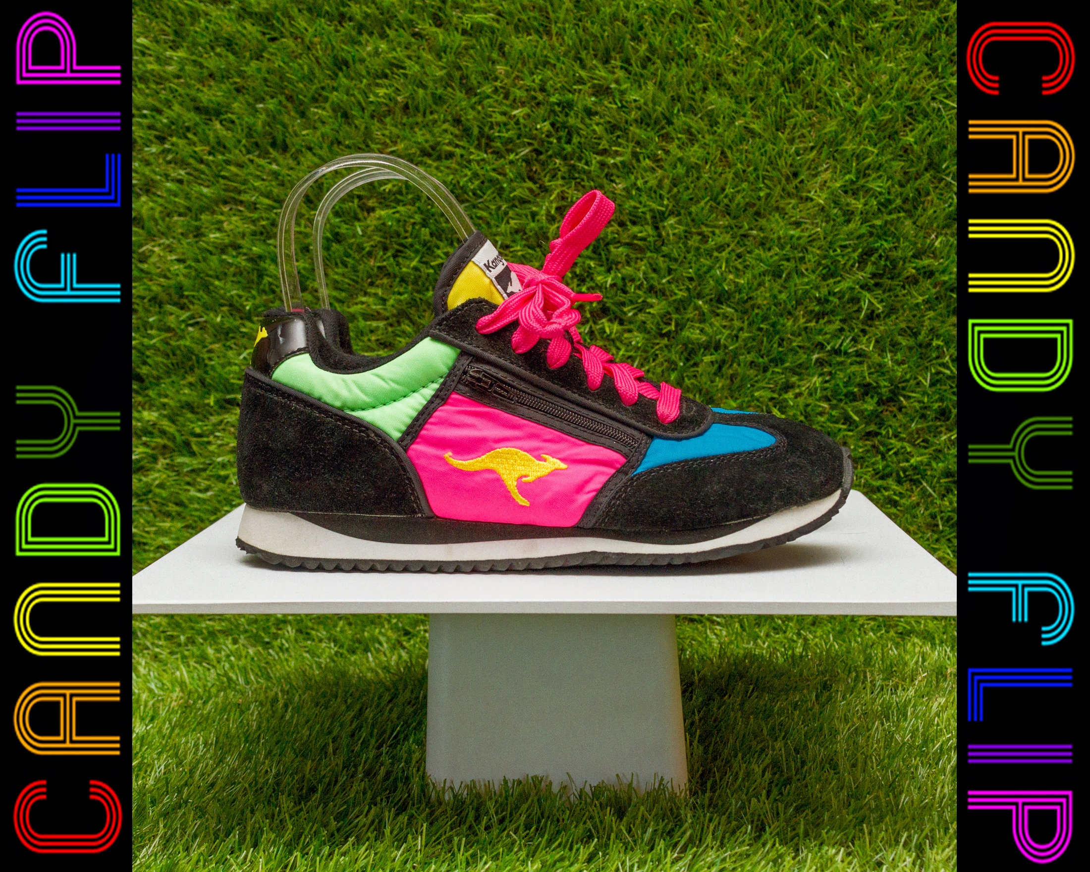 663d29fb80fe Vintage 90s KangaROOS Neon Rainbow Black Color Block Pink Blue Green Yellow  Running Zipper Pouch Suede Nylon Sneaker Shoe Women s US 4 UK 3