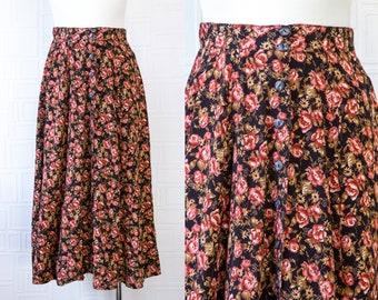 Vintage 90s Y2K Black Pink Burgundy Tan Brown Floral Print Rose Flower Mid Calf Ankle Length Button Front Elastic Waist Circle Maxi Skirt M