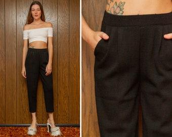 Vintage 90s St. John Black Knit Pleated Textured Elastic High Waist Lightweight Wide Leg Capri Ankle Mid Calf Length Pocket Dress Pants XS S