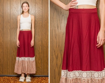 Vintage 70s Burgundy Wine Red Flower Floral Lace Trim Ruffle Circle Peasant Country Western Prairie Boho Hippie Long Full Length Skirt S M