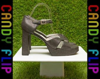 Vintage 90s Y2K Black Gunmetal Gray Glitter Strappy Chunky High Heel Ankle T Strap Platform Women's Shoes 8.5