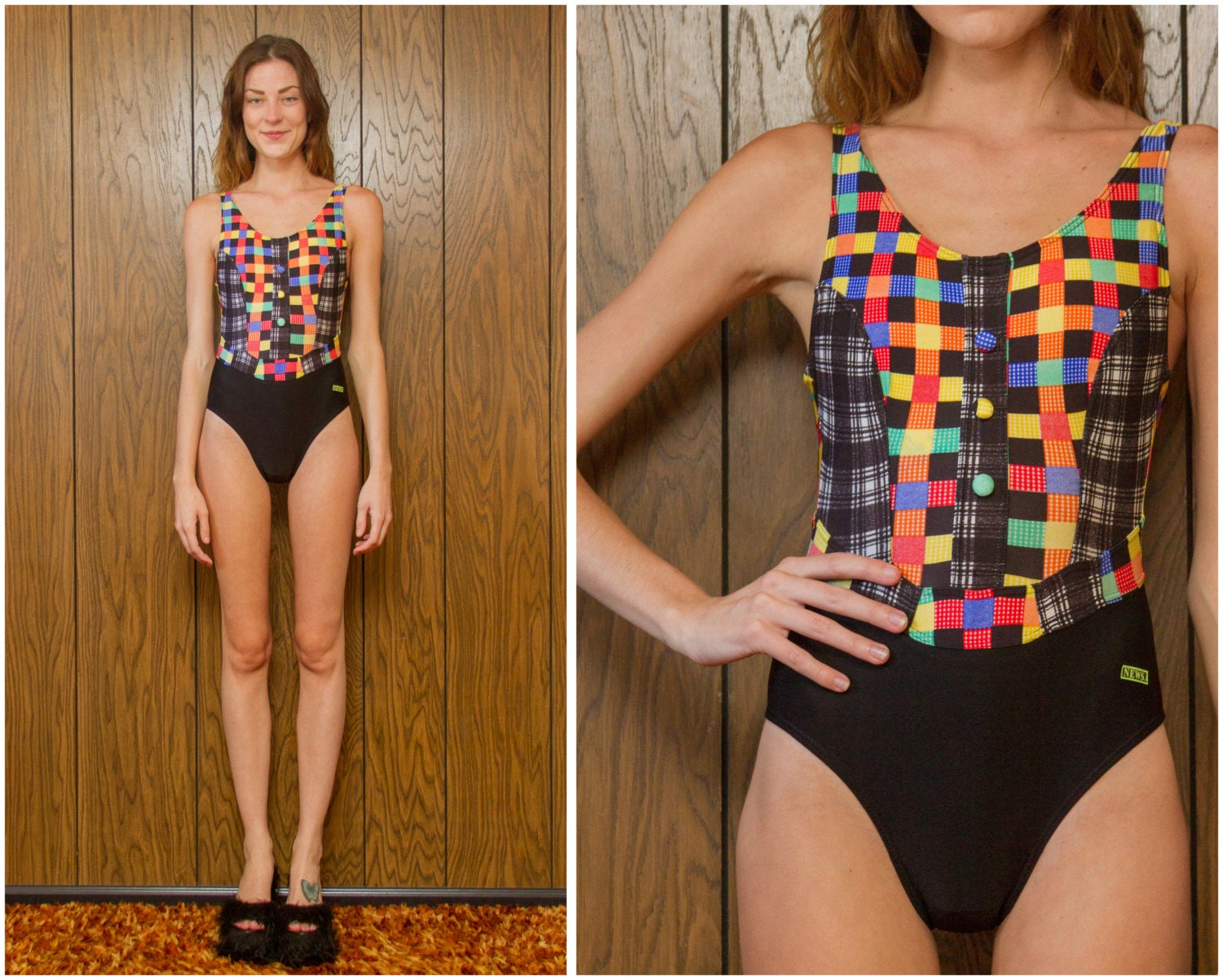 3966c778f7 Vintage 80s 90s NEW Button Rainbow Black White Red Blue Yellow Green Plaid Stripe  Striped High Hi Low Back Cut One Piece Swimsuit S M