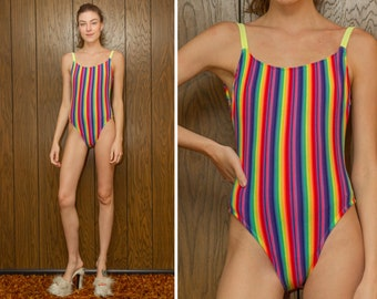 Vintage 90s Sassafras Textured Neon Green Rainbow Striped Low Back High Cut Hi Leg Shelf Bra One Piece Beach Swimsuit XS S M