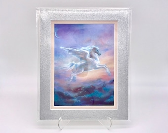 Vintage 80s Pastel Fantasy Flying Pegasus Foil Etching Art Print Silver Glitter Pink Silk Double Mat Ready to Frame in 8x10 Image 7.5 x 5.5