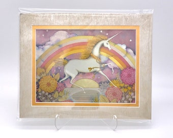 Vintage Unicorn Rainbow Fantasy Foil Etching Art Print Shiny Pink Gold Metallic Silver Double Mat Ready to Frame in 8x10 Image 7.5 x 5.5