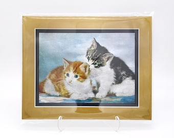 Vintage Kitten Siblings Pair Twin Foil Etching Art Print Shiny Antique Gold Metallic Black Double Mat Ready to Frame in 8x10 Image 7.5 x 5.5