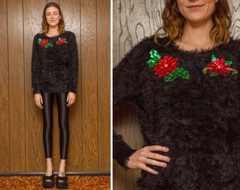 Vintage 90s Faux Fur Fuzzy Furry Black Sweater Sequin Metallic Gold Long Sleeve Scoop Neck Poinsettia Ugly Christmas Sweater S M L
