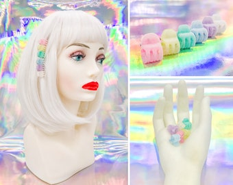 Vintage 90s Y2K Retro Rainbow Felt Mini Claw Plastic Pastel LGBTQ Pride Kawaii Pink Purple Blue Teal Yellow White Hair Clips Set of 6 or 12