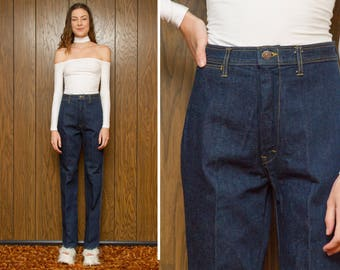 Vintage 70s 80s NEW Western Dark Navy Blue Southwestern High Waist Country Bootcut Denim Wave Embroidered Extra X Long Tall Jeans 26 27 35