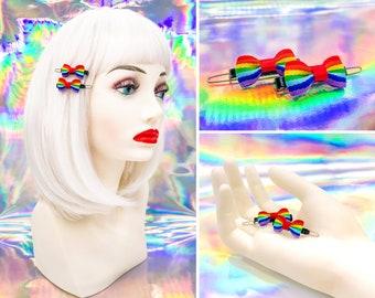 Vintage 80s 90s Black Red Enamel Metal Retro Rainbow Ribbon Mini Hinge Tooth Claw Hair Clip Barrette LGBTQ Pride Barrettes Pair Set of 2