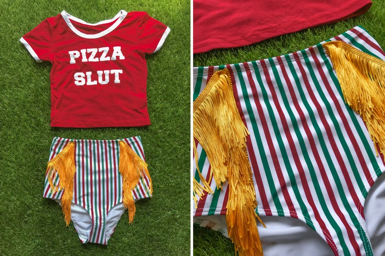 6a4ab01cf Sexy Pizza Delivery Costume Flag Yellow Gold Fringe Italian Green Red White  Striped Bikini Brief Slut Screen Print Ringer Crop Top Shirt Set