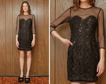 Vintage 80s 90s Black Sequin Embroidered Lace Tulle Sheer Mesh 3/4 Length Long Sleeves Sweetheart Neckline Cocktail Mini Dress XS S 2