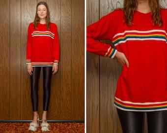 Vintage 80s 90s Soft Lightweight Thin Bright Red White Rainbow Ribbed Striped Multi Crewneck Raglan Long Sleeve Aerobics Jumper Sweater S M