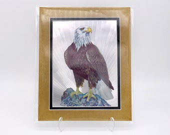 Vintage Perched Bald Eagle Bird Foil Etching Art Print Shiny Antique Gold Silver Metallic Double Mat Ready to Frame in 8x10 Image 7.5 x 5.5