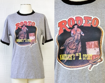 Vintage Dark Heather Gray Black Ringer Local Rodeo Cowgirl Horse Competition Fun Retro Hicks 80' Logo Graphic Novelty Occupation T-Shirt S M