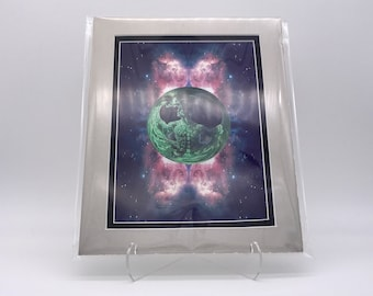 Vintage Cosmic Love Big Bang Universe Space Foil Etching Art Print Shiny Purple Black Silver Double Mat Ready to Frame 8x10 Image 7.5 x 5.5