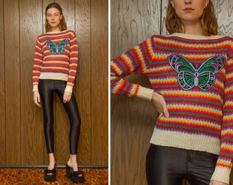 Vintage 70s 80s RARE Butterfly Embroidered Rainbow Thin Lightweight Sheer Knit Striped Shiny Purple Green Velvet Patch Sweater Jumper XS S M