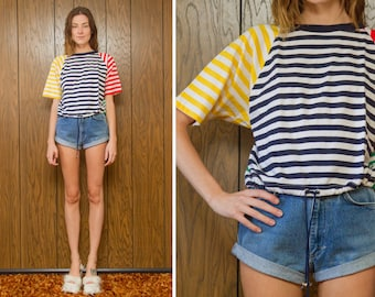 Vintage 90s Preppy Primary Color Block White Yellow Red Green Blue Rainbow Ringer Striped Tie Waist Crop T-Shirt Short Sleeve Shirt Top S M