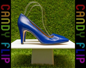 Vintage 80s 90s Jennifer Moore Claudette Style Shiny Royal Blue Leather High Pointed Heel Closed Toe Women's Pump Shoe 7 AA