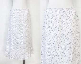 Vintage 90s Y2K Polo Jeans Ralph Lauren White Black Floral Print Flower Elastic Waist Zip Mid Calf Ankle Length Maxi Ruffle Peasant Skirt L