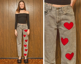 Vintage 80s Levi's 501 Button Fly Gray Up-cycled Revived Made in USA Acid Wash Boyfriend Red Heart Print Jean Denim Jeans High Waist 27 32 M