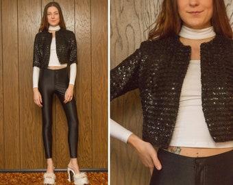 Vintage 60s 70s Parade New York Black Shiny Three Quarter Sleeve Sequined Metallic Crop Bolero Lined Formal Dance Ringmaster Jacket XS S M