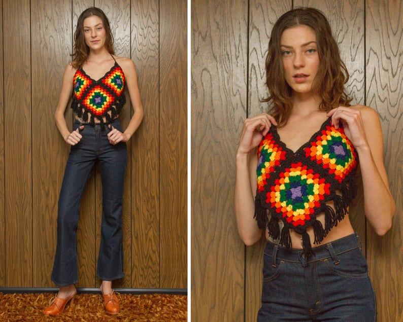 Vintage 70s Black Asymetrical Handmade Hippie Festival Crochet Knit Rainbow Fringe V Cut Handkerchief Afgan Acrylic Yarn Crop Halter Top XS
