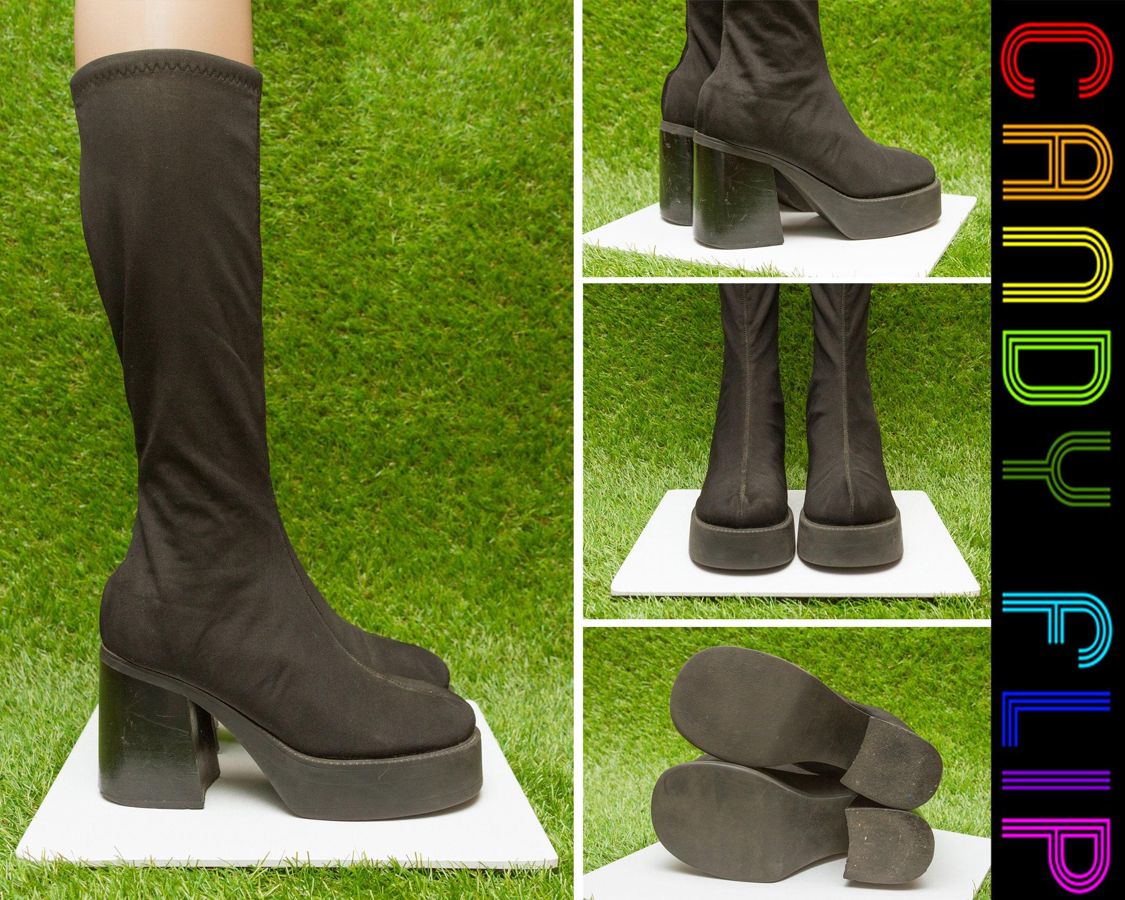10f2e7f722f2 Vintage 90s Bongo Black Chunky Platform Stretch Elastic Club Kid Thick  Cuban Heel Knee Pull On Tall Shaft Go Go Dancing Platform Boots 7